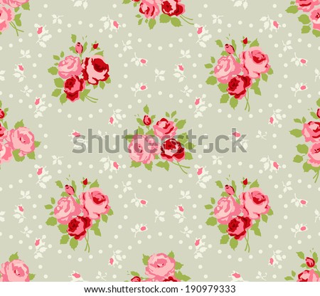 Shabby Chic Rose Patterns and seamless backgrounds.  - stock photo