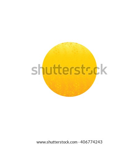 Shabby golden colored circle isolated on white background. Logo template, design element - stock photo