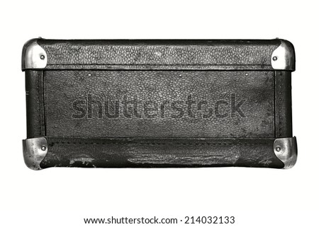 shabby old leather with iron corners a luggage suitcase black color isolated on a white background - stock photo