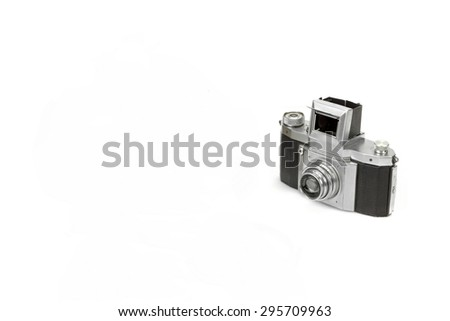 Shabby SLR 35mm Photo Camera Isolated  On White Background - stock photo