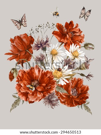 Shabby Vintage Watercolor Greeting Card with Blooming Red Poppies Chamomile Ladybird and Daisies Cornflowers Bumblebee Bee and Butterflies, Watercolor illustration. - stock photo