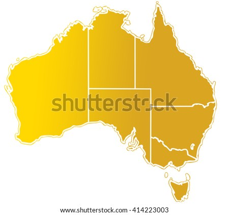 shade golden map of australian continent with white outline and internal regions limits - stock photo