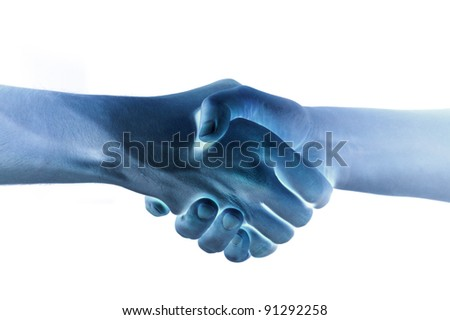 Shaded two hands unite with eachother as agreement - stock photo