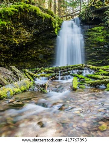 Shadow Falls waterfall in portrait - stock photo