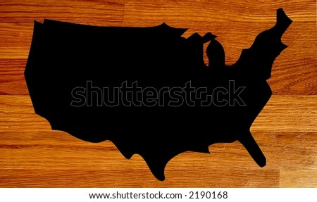 Shadow of a america against a wooden plank background - stock photo