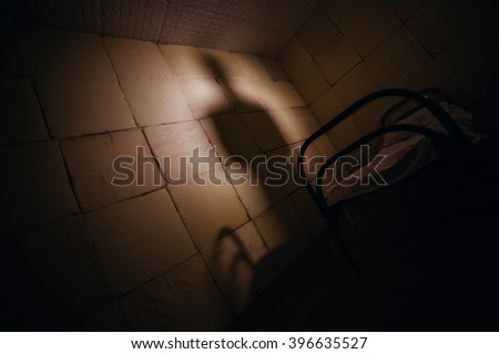 Shadow of evil doctor in upholstered room - stock photo