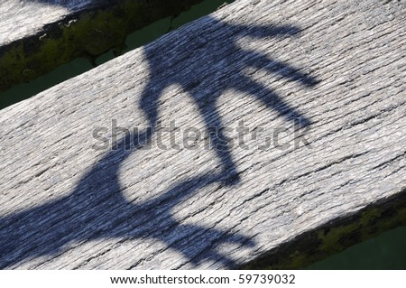 Shadow of hands forming heart on wooden planks. - stock photo