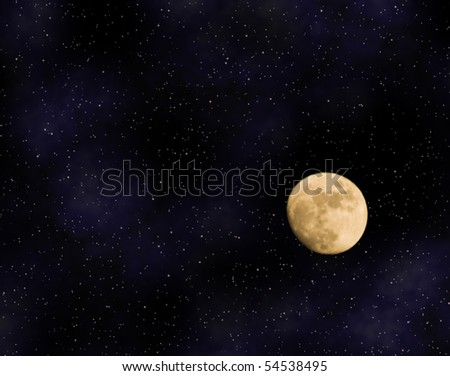 Shadowed Moon in Starry Sky - stock photo