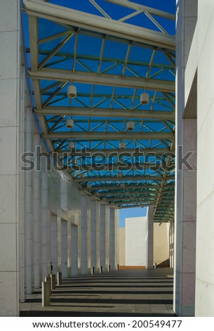 Shadows at the entrance to Australia's Parliament House - Canberra - stock photo
