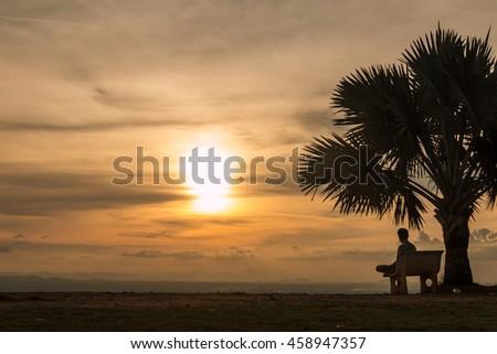 Shadows in sunset park in Hat Yai , Songkhla - stock photo
