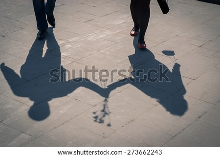 shadows of love couples - stock photo