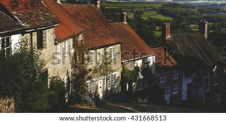 Shafetsbury Dorset UK Village Cobbles Concept - stock photo