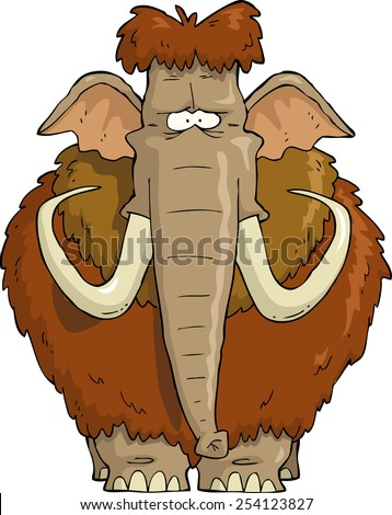 Shaggy Mammoth on a white background raster version - stock photo