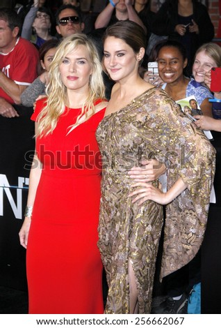 "Shailene Woodley and Kate Winslet at the Los Angeles premiere of ""Divergent"" held at the Regency Bruin Theatre in Westwood on March 18, 2014 in Los Angeles, California.  - stock photo"
