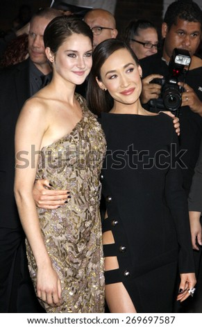 "Shailene Woodley and Maggie Q at the Los Angeles premiere of ""Divergent"" held at the Regency Bruin Theatre in Westwood on March 18, 2014 in Los Angeles, California.  - stock photo"