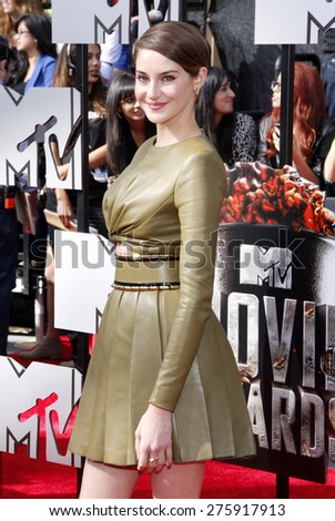 Shailene Woodley at the 2014 MTV Movie Awards held at the Nokia Theatre L.A. Live in Los Angeles on April 13, 2014 in Los Angeles, California.  - stock photo