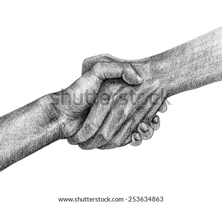 shake hand drawing by pencil - stock photo