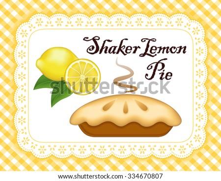 Shaker Lemon Pie, white eyelet lace doily place mat, yellow gingham check background.  - stock photo