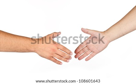 Shaking hands of two male people isolated on a white - stock photo