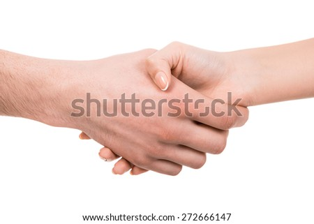Shaking hands of two people, isolated on white. - stock photo