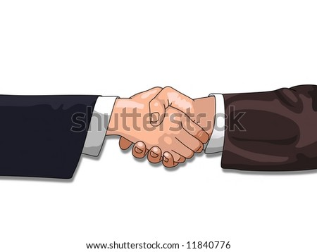 Shaking Hands over a white background - stock photo