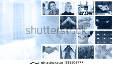 Shaking hands over eye glasses and diary after business meeting against business people using keyboard - stock photo