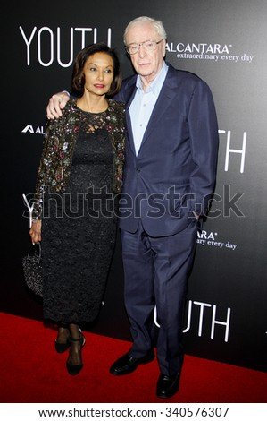 Shakira Caine and Michael Caine at the Los Angeles premiere of 'Youth' held at the DGA Theatre in Hollywood, USA on November 17, 2015. - stock photo