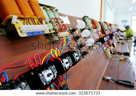 shallow depth of field of electrical control panel                                - stock photo