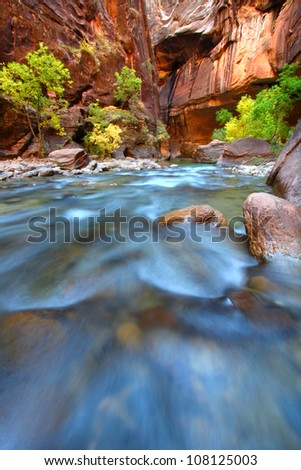 Shallow rapids of the Virgin River Narrows in Zion National Park - Utah - stock photo