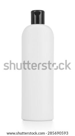 Shampoo, gel or lotion white plastic bottle, isolated on white background - stock photo