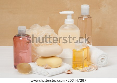 Shampoo, Liquid Soap, Aromatic Bath Salt And Other Toiletry. - stock photo
