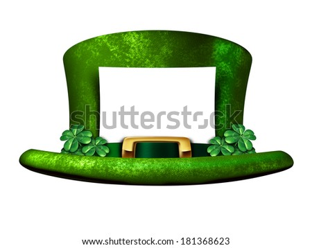 Shamrock hat blank sign from a Leprechaun as a white banner on a green lucky top as a classic St Patricks day luck symbol of Irish tradition celebration with magical four leaf clover decorations. - stock photo