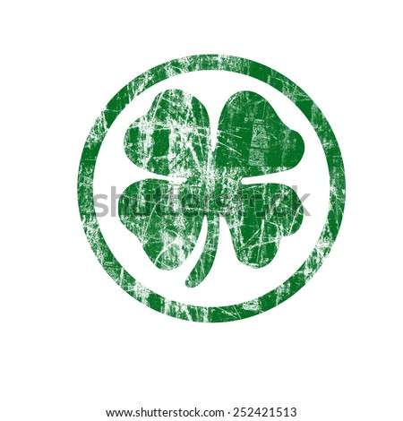 Shamrock Stamp Illustration with Clipping Path - stock photo