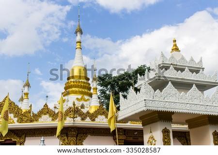 Shan Pagoda in Wat Fah Wiang In, Wianghaeng Chiangmai Thailand - stock photo