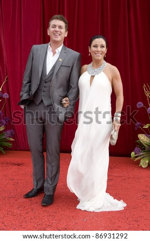 Shane Ritchie & Jessie Wallace arrive for the 2011 Soap Awards held at Granada Studios in Manchester. 14/05/2011. Picture by Simon Burchell/Featureflash - stock photo
