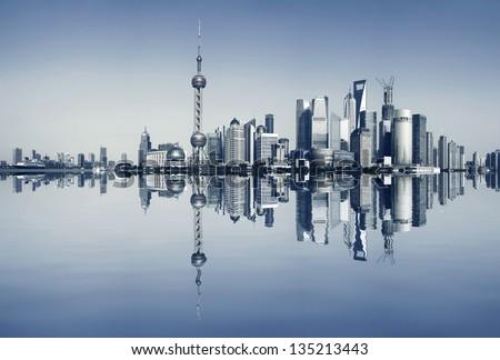 Shanghai bund at panoramic skyline - stock photo