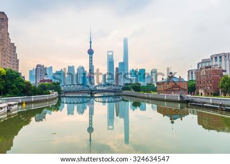 Shanghai bund Garden bridge at skyline - stock photo