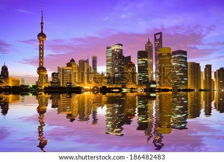 Shanghai bund skyline at dawn city landscape - stock photo
