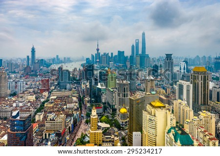 Shanghai, China Aerial View - stock photo