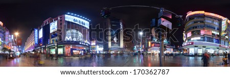 SHANGHAI, CHINA - JANUARY 26: 360 degrees panorama of Nanjing West road by night on January 26, 2013 in Shanghai.  - stock photo