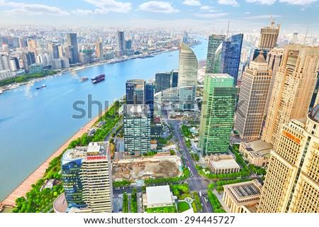 SHANGHAI, CHINA - MAY 24, 2015:Beautiful view skyscrapers, waterfront and city building of Pudong, Shanghai, China. - stock photo