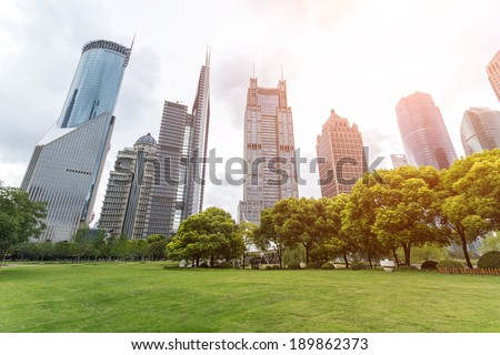 Shanghai, China, modern skyscrapers and green environment - stock photo