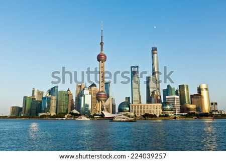 Shanghai city scenery at dusk - stock photo