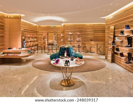 SHANGHAI-DEC. 2, 2014. Rupert Sanderson outlet. He produced his first shoe collection in 2001. The art of traditional craftsmanship and attention to detail can be seen in every Rupert Sanderson shoe. - stock photo