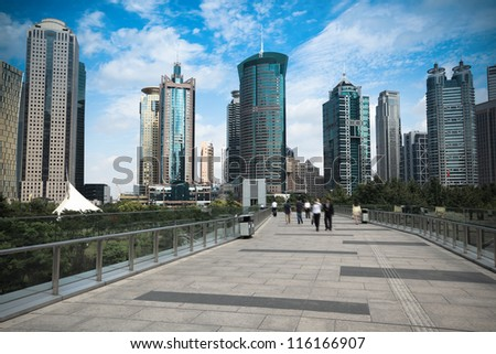 shanghai finance and trade district on the footbridge view - stock photo