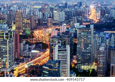 Shanghai Highway at Night - stock photo