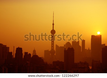 Shanghai in the morning. - stock photo