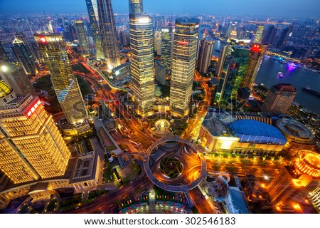 Shanghai Lujiazui finance and trade zone, aerial view at dusk, China - stock photo