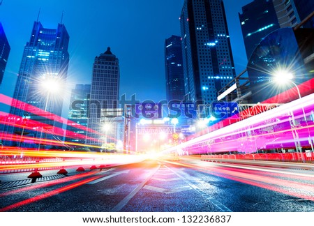 Shanghai Lujiazui Finance and Trade Zone of the modern city night background - stock photo