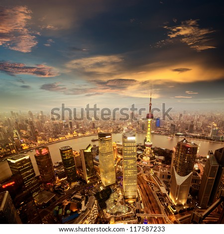 shanghai lujiazui finance and trade zone skyline - stock photo